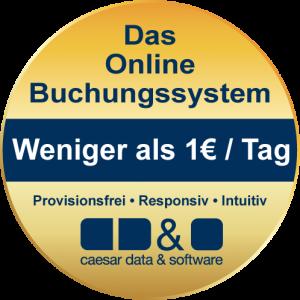 Button Weniger als 1€ am Tag, provisionsfrei, responsiv, intuitiv - caesar data & software - Online-Buchungssystem, IBE, Homepage-Buchbarkeit, Web Design