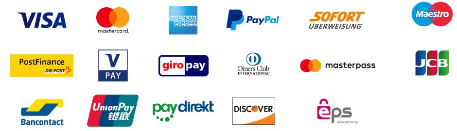 Zahlungsmittel der Online-Zahlung bei Zimmerbuchung mit Partner - caesar data & software Online-Buchungssystem, Web Design, IBE, Online-Buchbarkeit