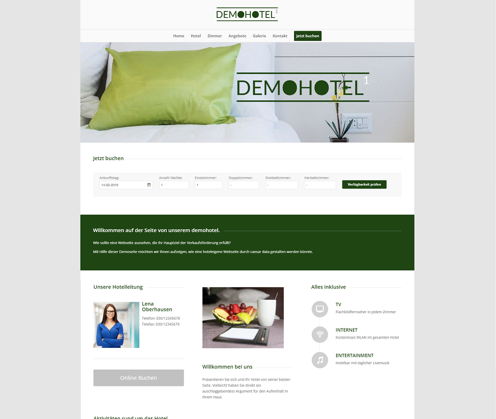 Web Design für Hotels - Demohotel 1 caesar data & software GmbH