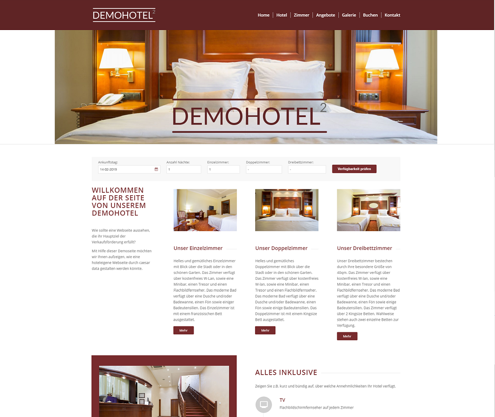 Web Design für Hotels - Demohotel 2 caesar data & software GmbH