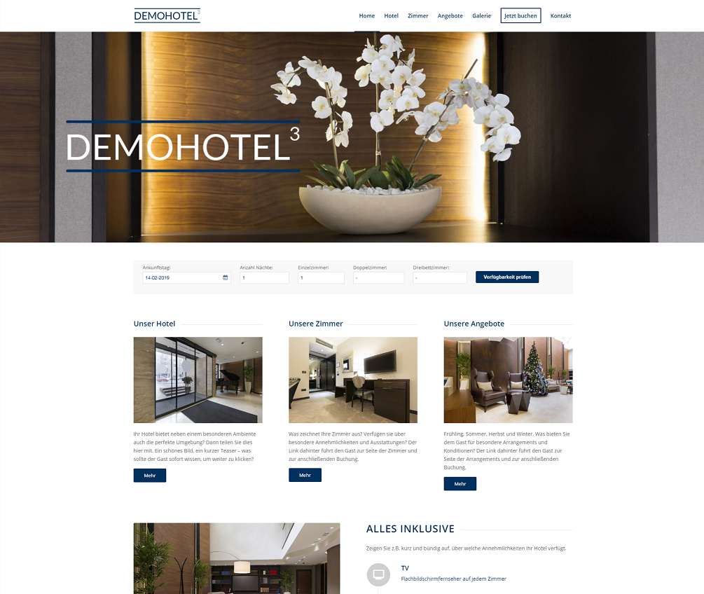Web Design für Hotels - Demohotel 3 caesar data & software GmbH