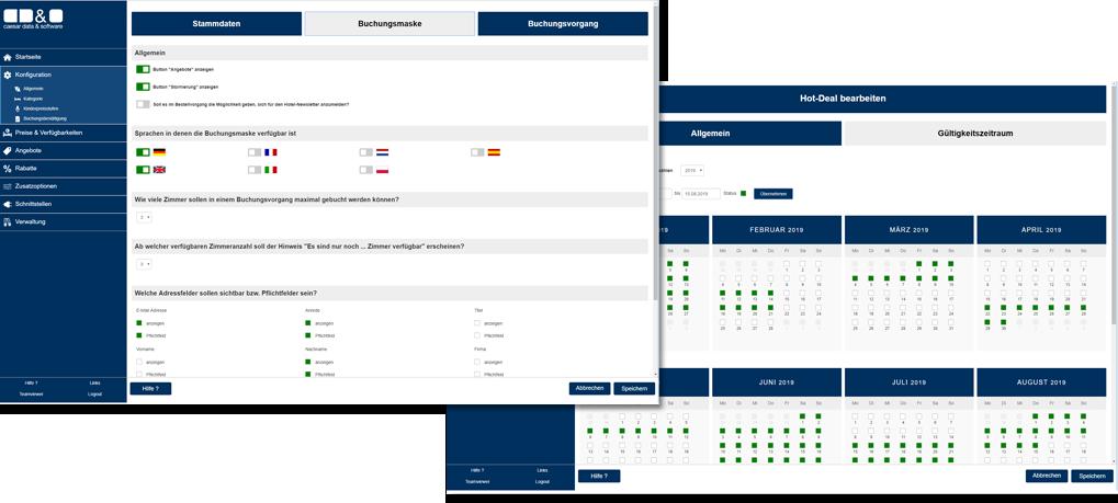 caesar data 4.0 Selbstverwaltungsmenü - caesar data & software - Online-Buchungssystem, IBE, Homepage-Buchbarkeit, Web Design
