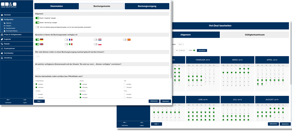 caesar data 4.0 Selbstverwaltungsmenü - caesar data & software Direktbuchbarkeit Buchungsmaschine IBE Online-Buchungssystem