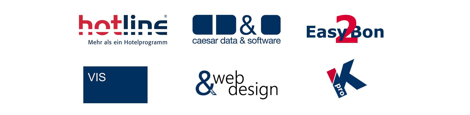 Die Marken der SoftTec GmbH: hotline Hotelsoftware, Online-Buchungssystem, Kassensystem, Außendienst Steuerung, Web Design