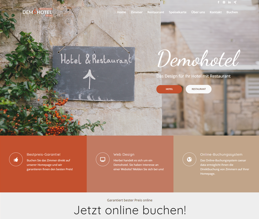 Demohotel 6 Web Design für Hotels by caesar data & software GmbH