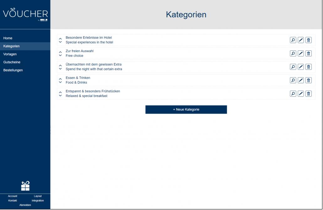 Screenshot Kategorien Backend VOUCHER Gutscheinverwaltung Hotel Gutschein Tool