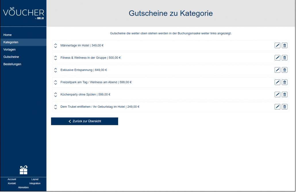 Screenshot Gutscheine zu Kategorie Backend VOUCHER Gutscheinverwaltung Hotel Gutschein Tool