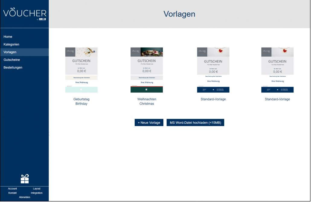 Screenshot Vorlagen Designvorlagen Backend VOUCHER Gutscheinverwaltung Hotel Gutschein Tool