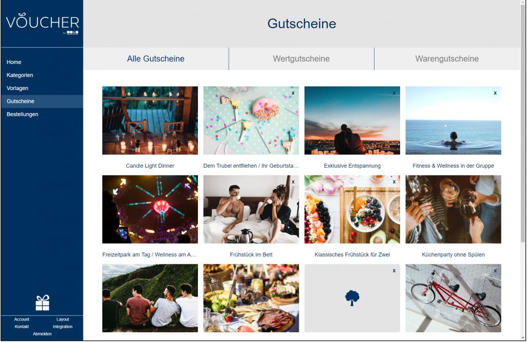 Screenshot Gutscheine Backend VOUCHER Gutscheinverwaltung Hotel Gutschein Tool