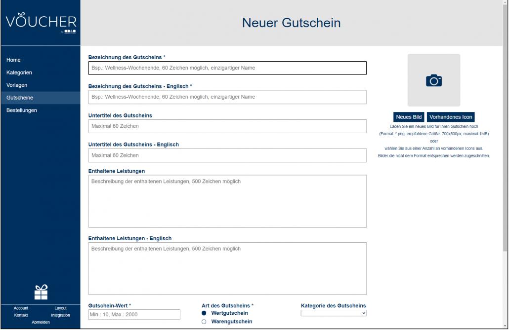Screenshot neuer Gutschein Backend VOUCHER Gutscheinverwaltung Hotel Gutschein Tool
