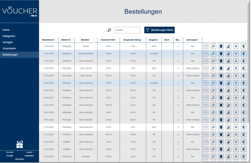 Screenshot Bestellungen Backend VOUCHER Gutscheinverwaltung Hotel Gutschein Tool