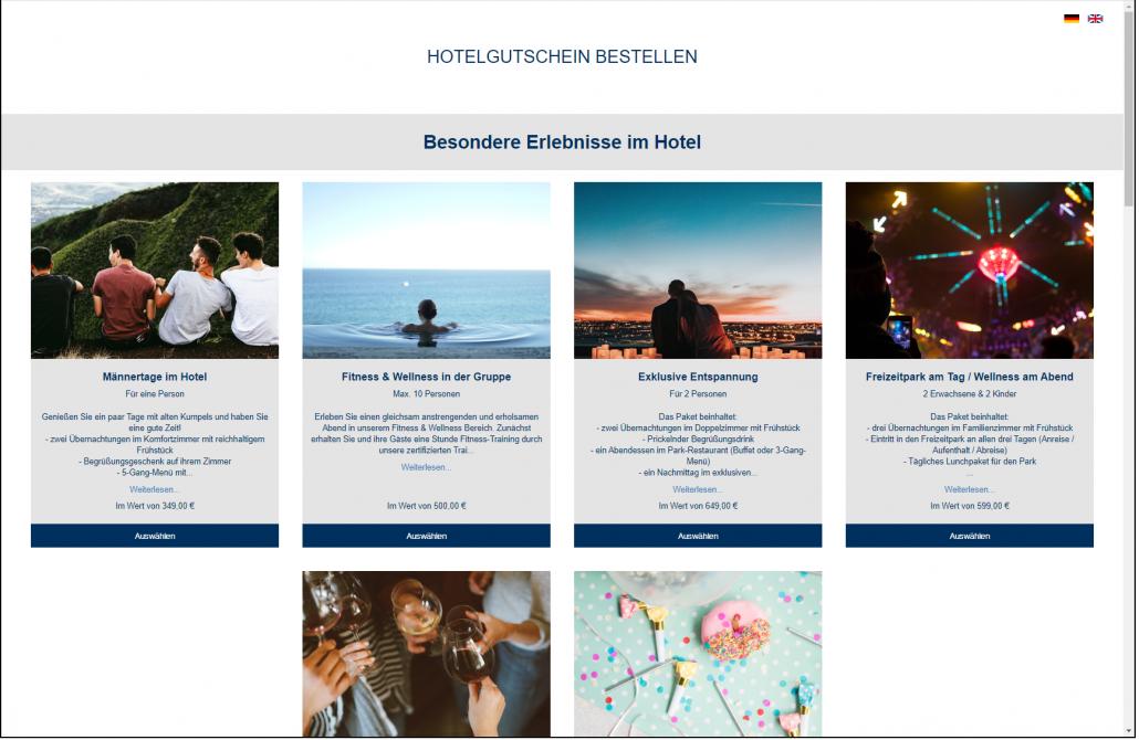 Screenshot Gutschein Übersicht Frontend VOUCHER Gutscheinverwaltung Hotel Gutschein Tool