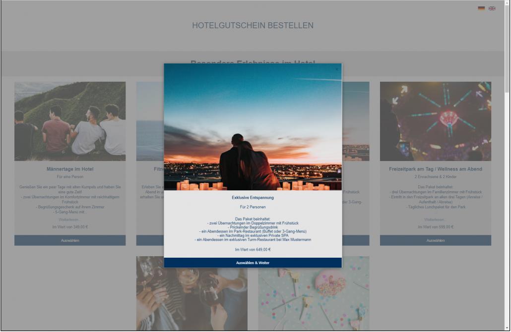 Screenshot Gutschein Details Frontend VOUCHER Gutscheinverwaltung Hotel Gutschein Tool