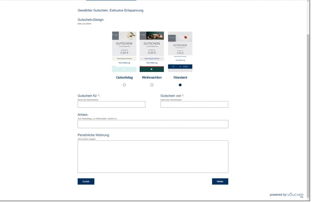 Screenshot Auswahl Gutschein Design Frontend VOUCHER Gutscheinverwaltung Hotel Gutschein Tool
