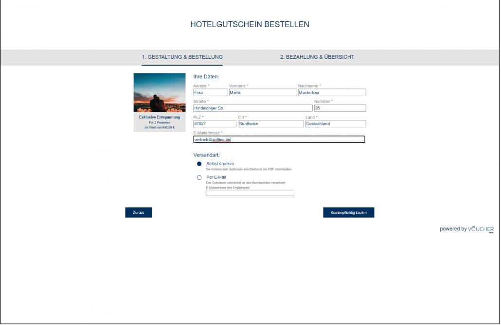 Screenshot Gestaltung Bestellung Frontend VOUCHER Gutscheinverwaltung Hotel Gutschein Tool