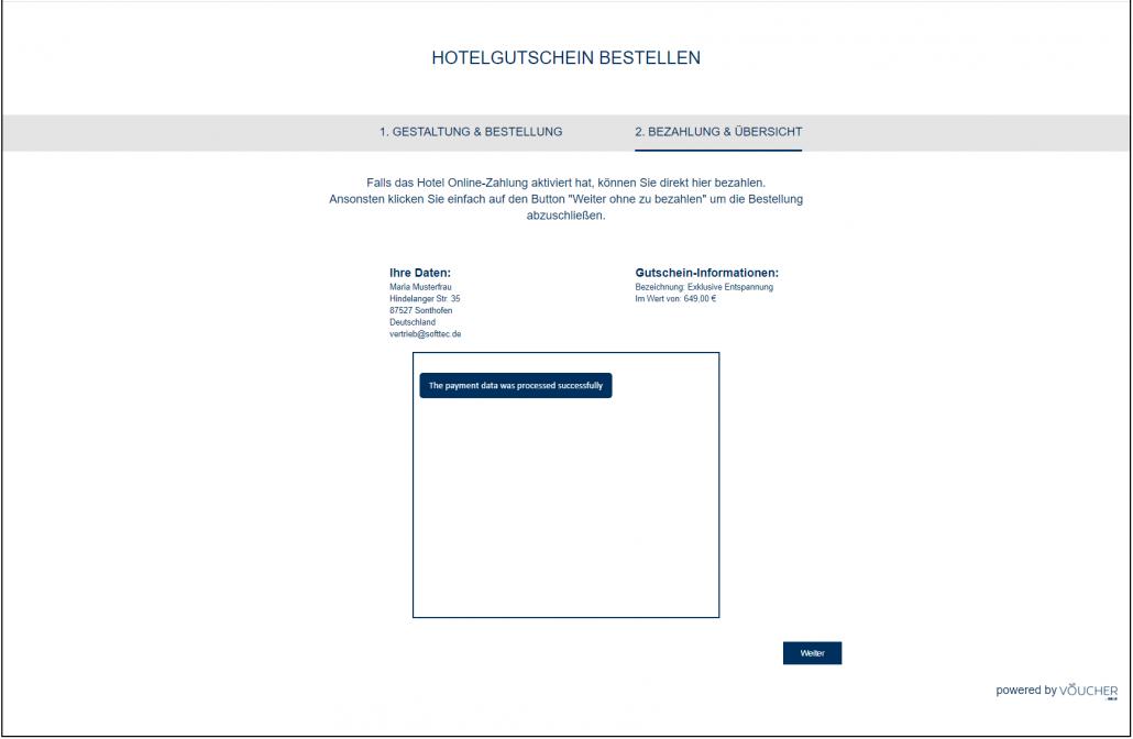 Screenshot Bezahlung Übersicht Frontend VOUCHER Gutscheinverwaltung Hotel Gutschein Tool