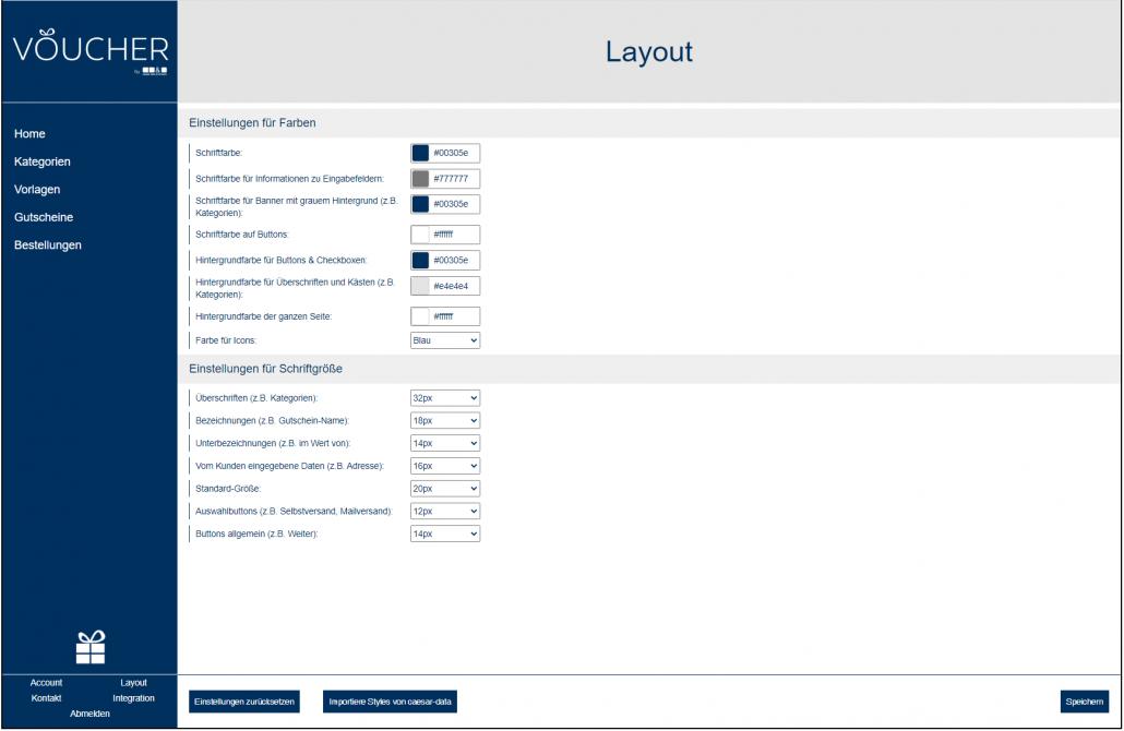 VOUCHER coupon management screenshot backend colour font changing