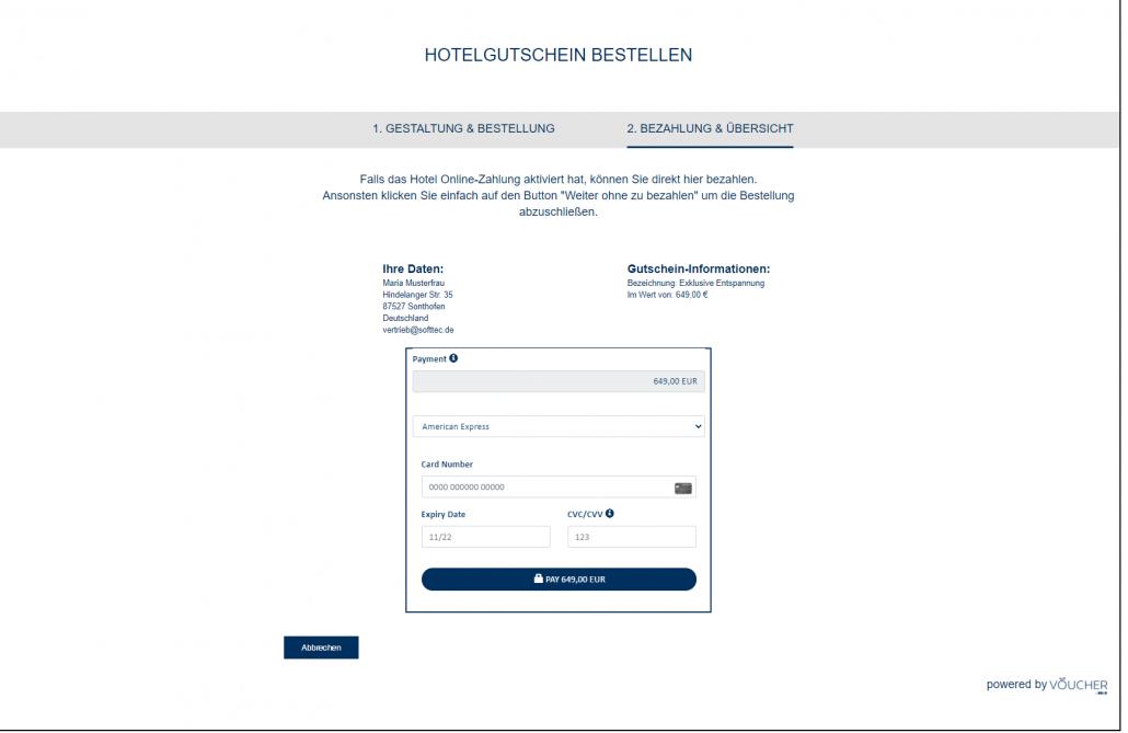 VOUCHER coupon management screenshot frontend
