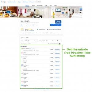 Google Free Booking Links Ansicht für Hotels in Suchergebnissen